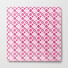 Pink Hearts Polka Dot Metal Print