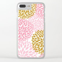 Pink and Gold Dahlias floral art Clear iPhone Case