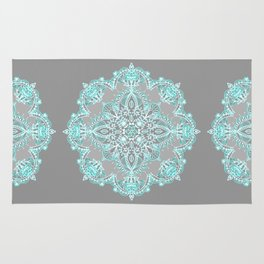 Teal and Aqua Lace Mandala on Grey Rug