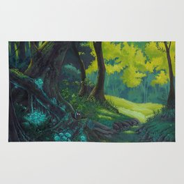 Magic forest glade art bright colors Rug