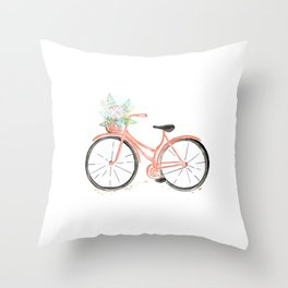Coral Spring bicycle with flowers Throw Pillow