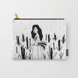 girl with flowers Carry-All Pouch
