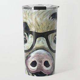 Pig with Glasses, Cute Farm Art Travel Mug