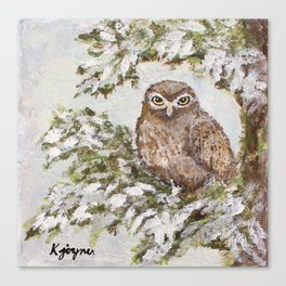 Owl In Tree Painting Canvas Print