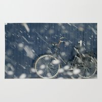 cycling Area & Throw Rugs featuring Snow Cycling by Art de L'aube