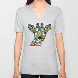 Colorful Giraffe Art - Curious - By Sharon Cummings Unisex V-Neck