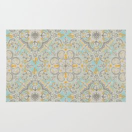 Gypsy Floral in Soft Neutrals, Grey & Yellow on Sage Rug