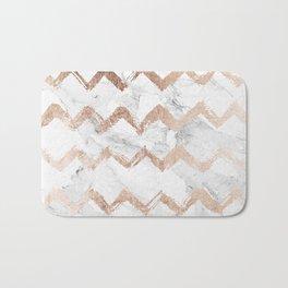 Chic faux rose gold chevron white marble pattern Bath Mat