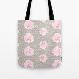Watercolor roses on Taupe with French script Tote Bag