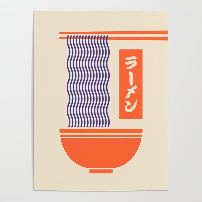 Ramen Japanese Food Noodle Bowl Chopsticks - Cream Poster