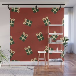 Gifts and stars - red and green Wall Mural