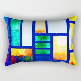Art Deco Colorful Stained Glass Rectangular Pillow