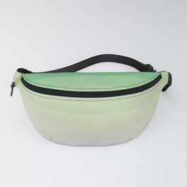 Shades of Ocean Water - Abstract Geometric Line Gradient Pattern between See Green and White Fanny Pack