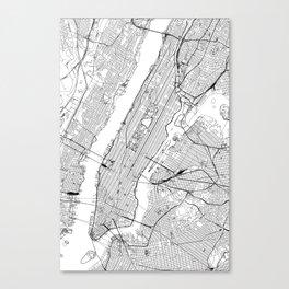 New York City White Map Canvas Print