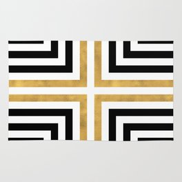 Simple Geometric Cross Pattern - White Gold on Black - Mix & Match with Simplicity of life Rug