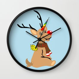 Red Nosed Unicorn Wall Clock