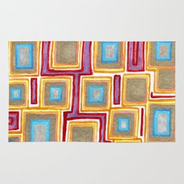 Crimson Gold and Squares Rug