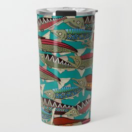 Alaskan salmon teal Travel Mug