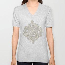 Cream Floral Moroccan Pattern on Deep Indigo Ink Unisex V-Neck