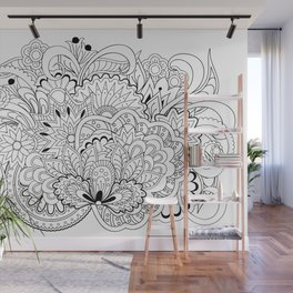 black and white zen tangled composition Wall Mural