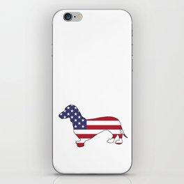 """Dachshund """"American Flag"""" iPhone Skin"""