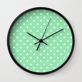 Mint Green with White Polka Dots Wall Clock