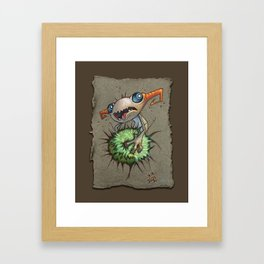 Grey Paper Sketch: Gripped, Taupe Background Framed Art Print