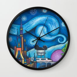 Starry Night Over the World Wall Clock