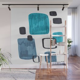 Mid Century Modern Abstract Minimalist Art Colorful Shapes Vintage Retro Style Turquoise Blue Grey Wall Mural