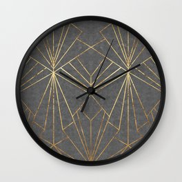 Art Deco in Gold & Grey - Large Scale Wall Clock