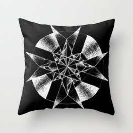 Inverted Crystalline Compass Throw Pillow
