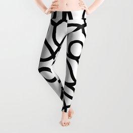 Organic River Lines - White-Black Leggings