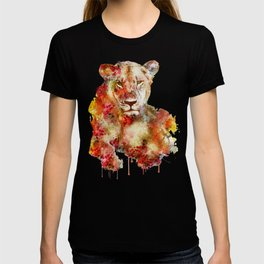 Resting Lioness Watercolor Painting T-shirt
