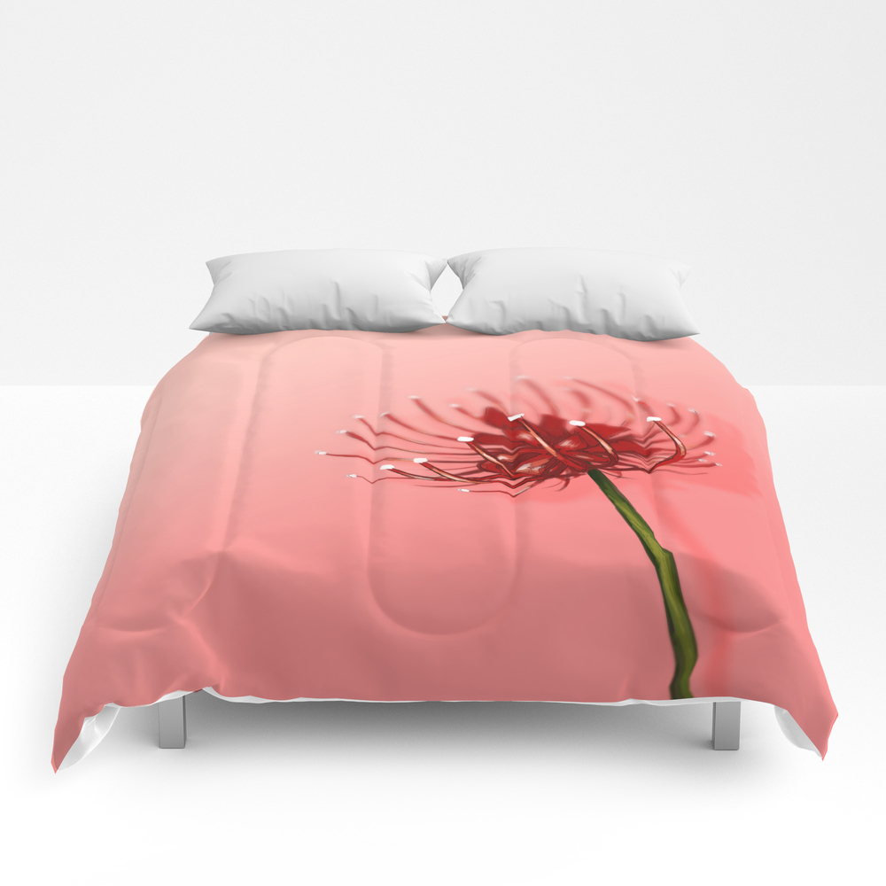 Spider Lily On A Pink Background Comforter by Annaostling CMF8936917