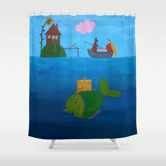 Ozzi and Lulu Fishing Shower Curtain