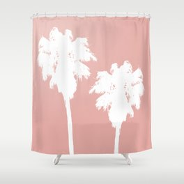 White Palm Trees On Rose Gold Shower Curtain