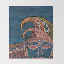 Zen Waves Surf Art by Lauren Tannehill Art Throw Blanket