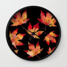 Maple leaves black Wall Clock