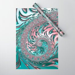 Coral and Teal Spiral Wrapping Paper