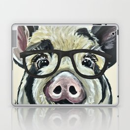 Pig with Glasses, Cute Farm Art Laptop & iPad Skin