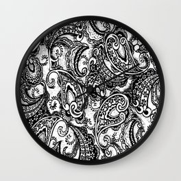 paisley batik black Wall Clock