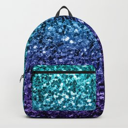 Beautiful Aqua blue Ombre glitter sparkles Backpack