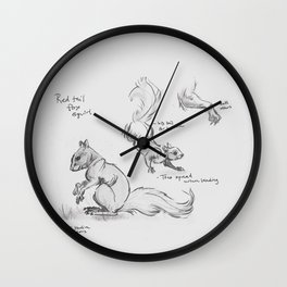 Sketches: Red Tail Fox Squirrel No.1 Wall Clock