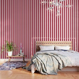 Cadmium purple red - solid color - white vertical lines pattern Wallpaper