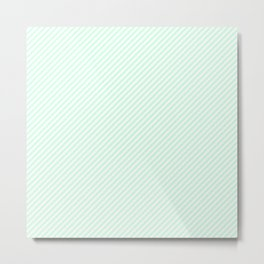 Mini Pale Summer Mint Green Pastel and White Candy Cane Stripes Metal Print