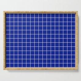 Indigo dye - blue color - White Lines Grid Pattern Serving Tray