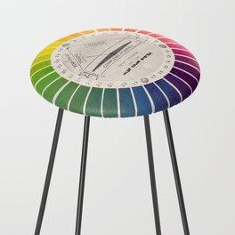 Vintage Color Wheel - Art Teaching Tool - Rainbow Mood Chart Counter Stool