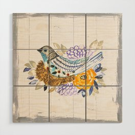 NestingPaintedBird Wood Wall Art