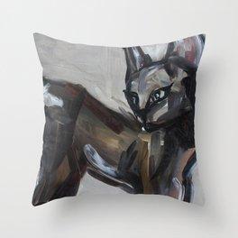 Cat, elegant animal, traditional art Throw Pillow