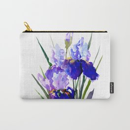 Garden Irises, Blue Purple Floral Design Carry-All Pouch